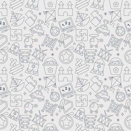 おもちゃのライン アイコン パターン ・ セット  イラスト・ベクター素材