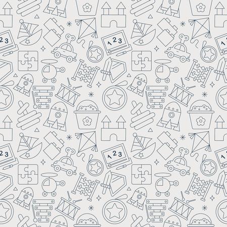 toy line icon pattern set Illusztráció
