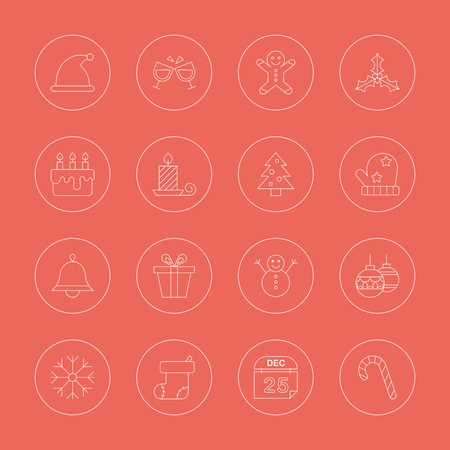 gingerbreadman: Christmas line icon set Illustration