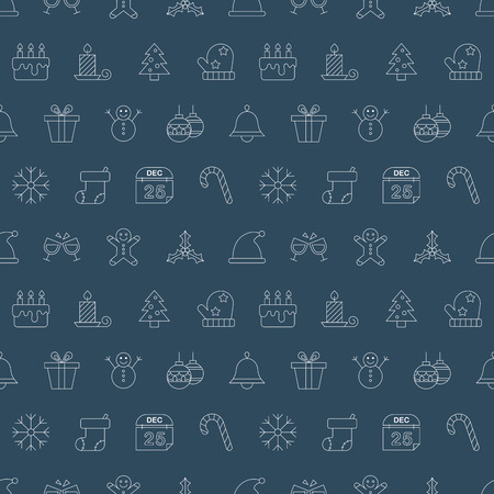 gingerbreadman: Christmas line icon pattern set