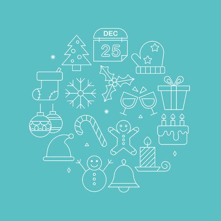 gingerbreadman: Christmas line icon circle set