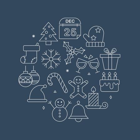 Christmas line icon circle set