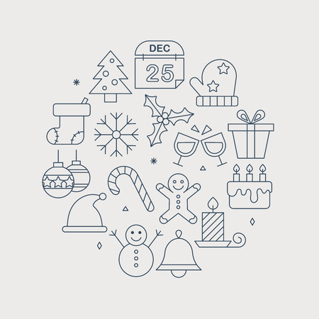 gingerbreadman: Christmas line icon circle set