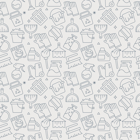 cleaning line icon pattern set