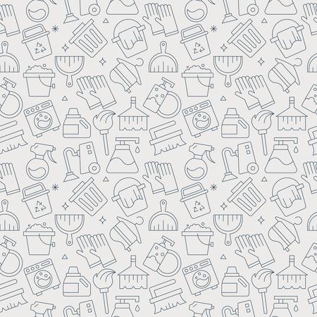 reiniging lijn patroon pictogram set
