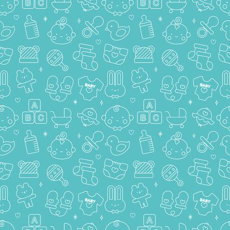 赤ちゃん線アイコン パターン セット  イラスト・ベクター素材