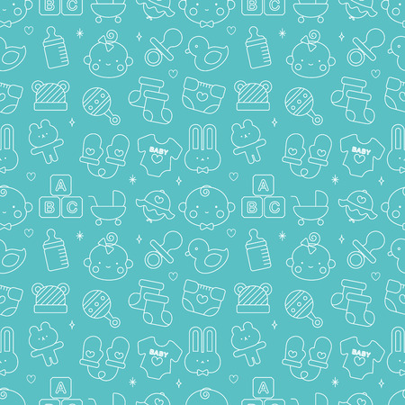 Baby line icon pattern set