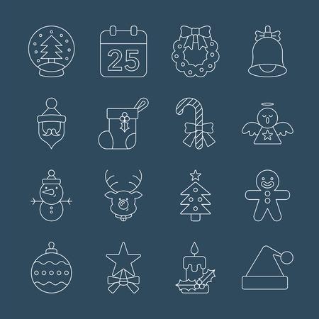 Christmas line icon set Illustration
