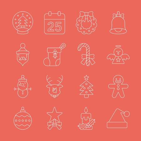 gingerbreadman: Christmas line icon set Illustration