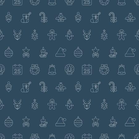 gingerbreadman: Christmas line icon pattern set