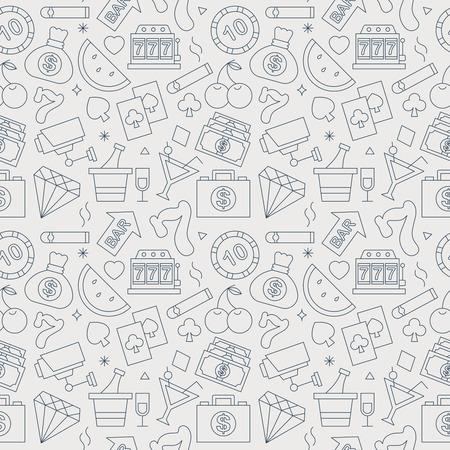 카지노 라인 아이콘 패턴 세트 일러스트
