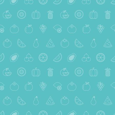 fruit line icon pattern set