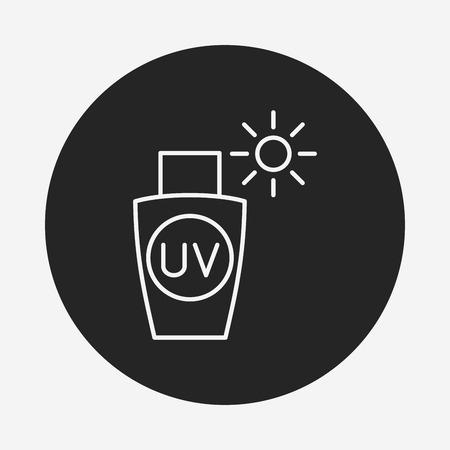 sun tanning: sunscreen line icon Illustration