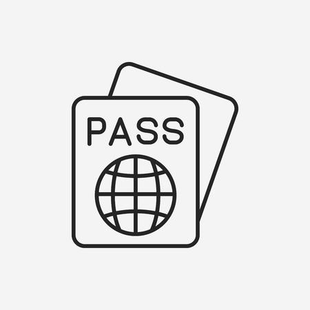 citizenship: passport line icon