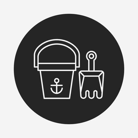 piasek: sand bucket line icon