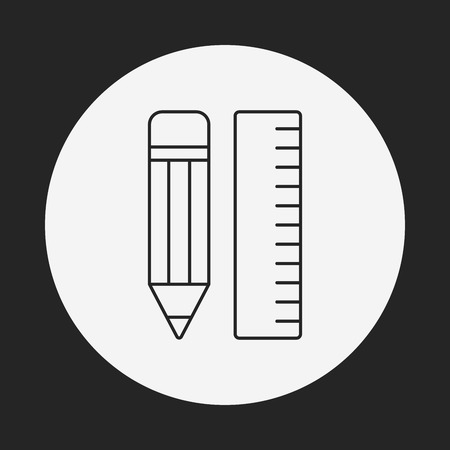 pencil and ruler line icon Vector