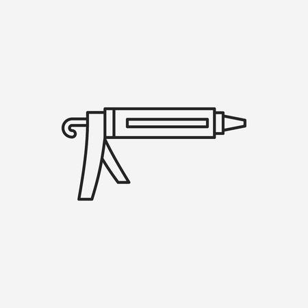 silicone gun: Glue gun line icon Illustration