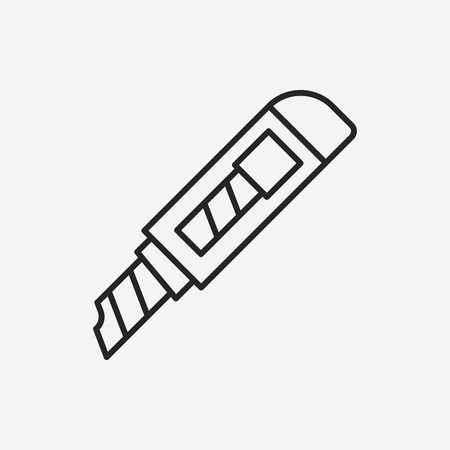 dangerous work: Utility knife line icon