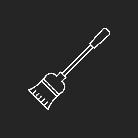 broom handle: broom line icon