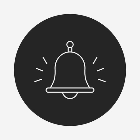 emergency attention: school bell line icon Illustration