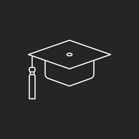 졸업 모자 라인 아이콘