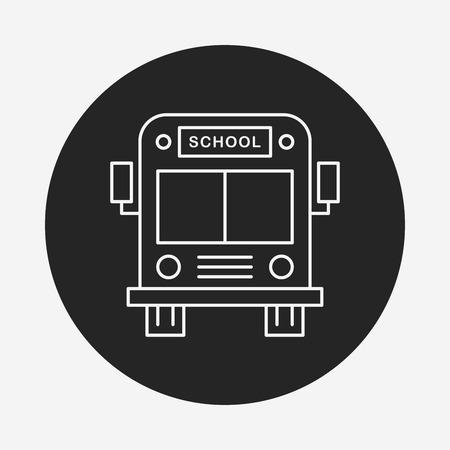yellow schoolbus: school bus line icon Illustration