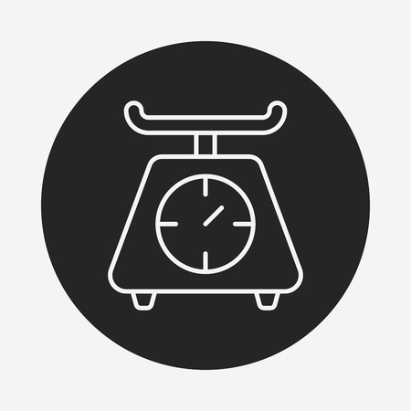 counterweight: Weighing machine line icon Illustration