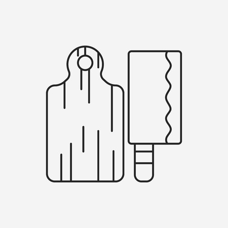 cutting: Cutting board line icon Illustration
