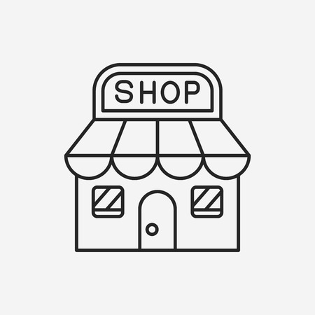 mall signs: shopping store line icon