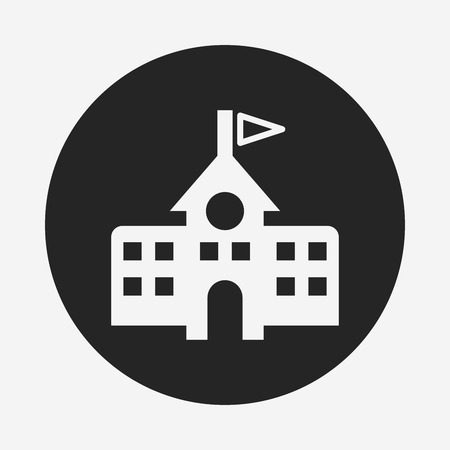 government building: school building icon Illustration