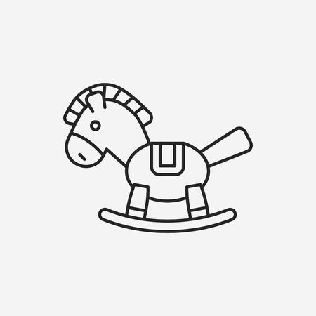 baby toy horse line icon