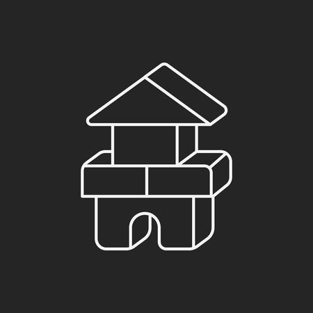 baby toy bricks line icon