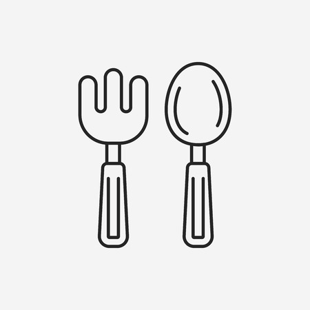 baby cutlery: baby spoon and fork line icon