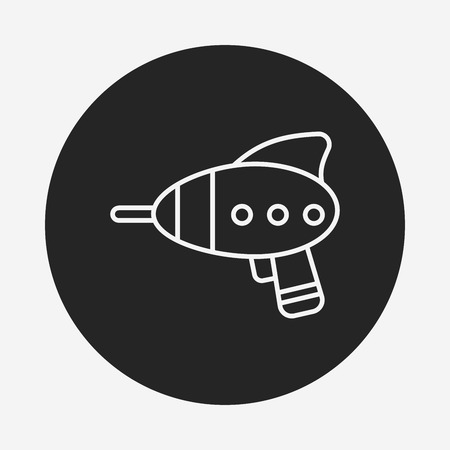 baby toy: baby toy gun line icon Illustration