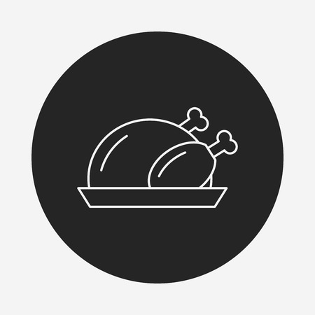 fried chicken wings: chicken line icon