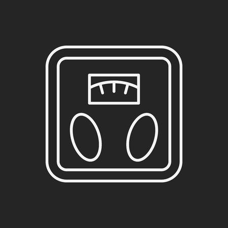 counterbalance: Weighing machine line icon Illustration