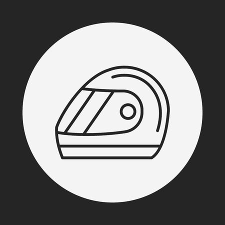 Racing helmet line icon Illustration