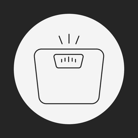 weighing: Weighing machine line icon Illustration