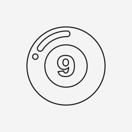 snooker rooms: Billiards line icon Illustration