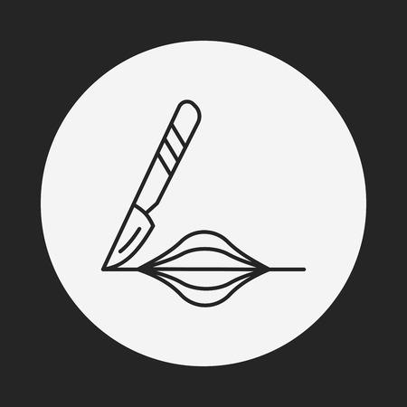 incision: Scalpel line icon