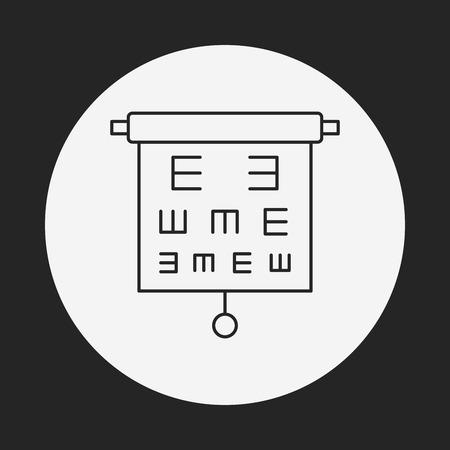 eye chart: Eye chart line icon Illustration