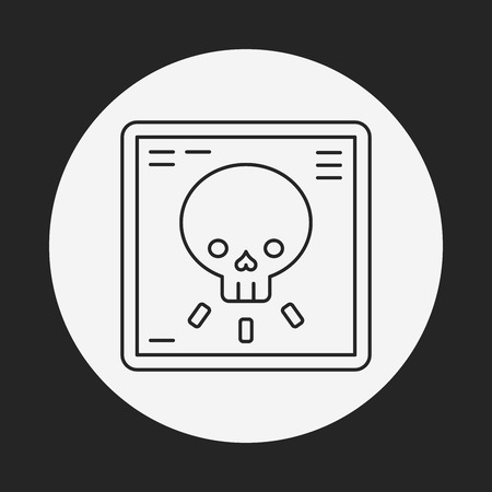 radiography: X-rays line icon Illustration