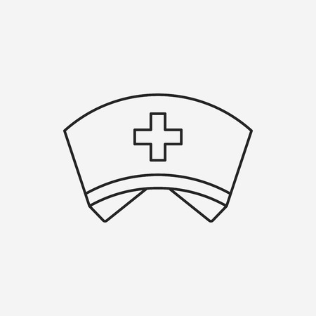 nurse hat line icon Çizim