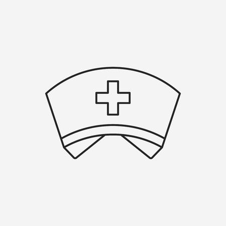 nurse hat line icon Illustration