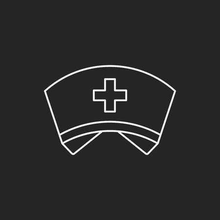nurse hat: nurse hat line icon Illustration