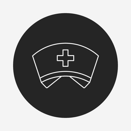 nursing clothes: nurse hat line icon Illustration