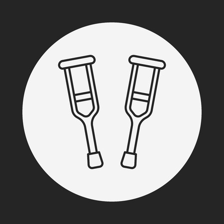 crutch: Crutch line icon Illustration