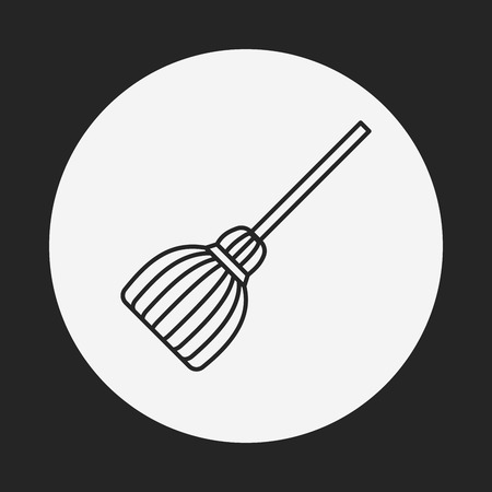 witch on broom: witch broom line icon Illustration