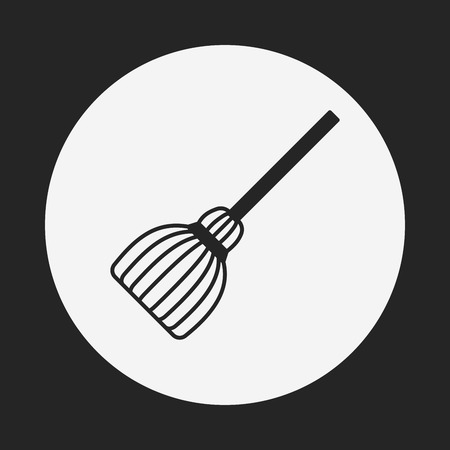 witch on broom: witch broom icon