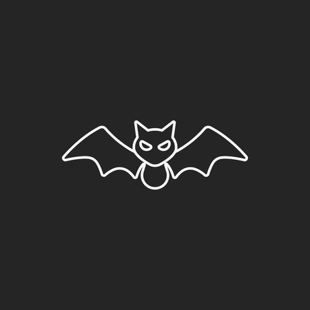 black line: halloween bat line icon